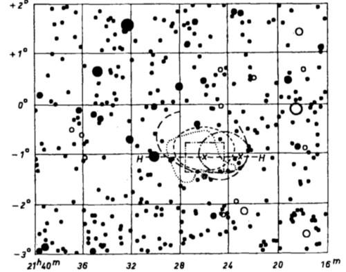 """Visuella observationer av Baxendells nebulosa. Bilden från Walter Strohmeier & A. Güttler, """"Zur Frage der Existenz des Baxendell-Nebels NGC 7088"""", i Astronomische Nachrichten, volume 280, 1952."""