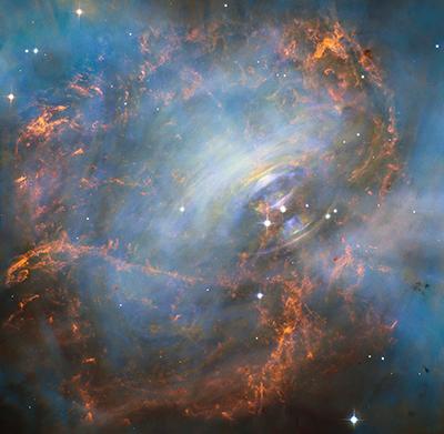 Krabbnebulosans innersta. Färgbild sammansatt av olika bilder från Hubble-teleskopet tagna 2003-2013. Synfältet är ungefär 2 bågminuter brett. Bild: NASA, ESA, J. Hester och M. Weisskopf.