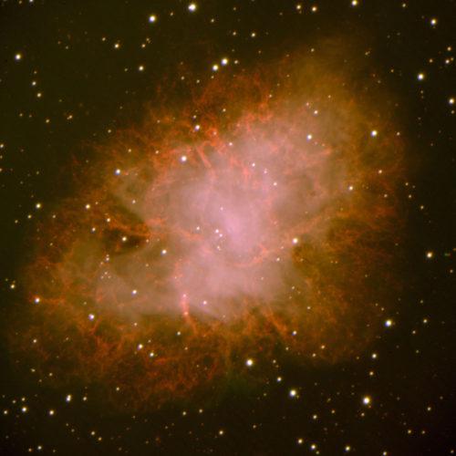 Krabbnebulosan är resterna efter en supernova som syntes från jorden 1054. Denna supernovarest ligger ca 6500 ljusår bort, på tryggt avstånd vad gäller inverkan på jordiskt liv. Denna bild togs 2002 med instrumentet VIMOS i Chile. Foto: ESO