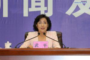 Wu Ping, biträdande chef för den kinesiska byrån CMSEO, talade om framtiden för Tiangong-1 och 2 på presskonferensen den 14 september i Jiuquan i nordvästra Kina. Bild: Xinhua/Ju Zhenhua.