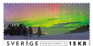Ett av frimärkena i den nya serien. Fotografiet är taget av Göran Strand nära byn Rörvattnet. Bild: Göran Strand/PostNord.