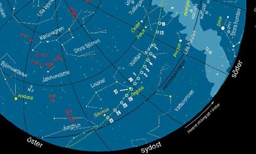 karta: Per Ahlin, kometlägen från Sky & Telescope