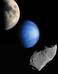 Månen, venus och en asteroid