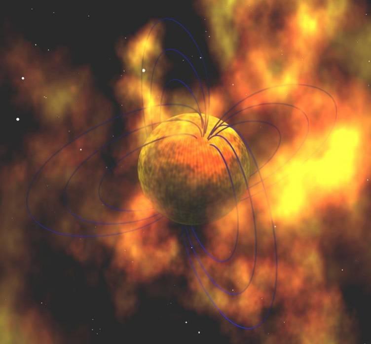 Konstnärs intryck av en magnetar