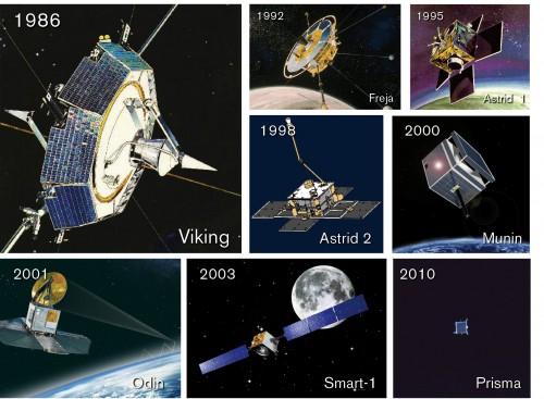 Bilder: KTH (Astrid 2), ESA (Smart-1) Rymdbolaget/SSC (övriga)