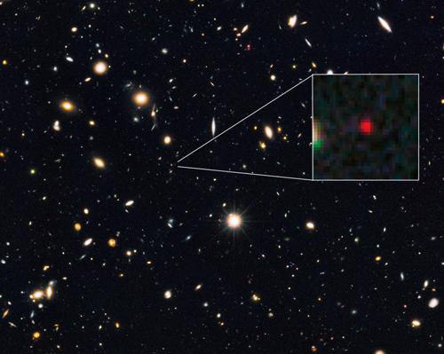 Bild: NASA, ESA, G. Illingworth (University of California, Santa Cruz), P. Oesch (University of California, Santa Cruz; Yale University), R. Bouwens and I. Labbé (Leiden University), and the Science Team