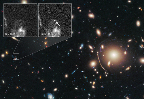 Bild: NASA, ESA, C. McCully (Rutgers University), A. Koekemoer (STScI), M. Postman (STScI), A. Riess (STScI/JHU), S. Perlmutter (UC Berkeley, LBNL), J. Nordin (NBNL, UC Berkeley), and D. Rubin (Florida State)