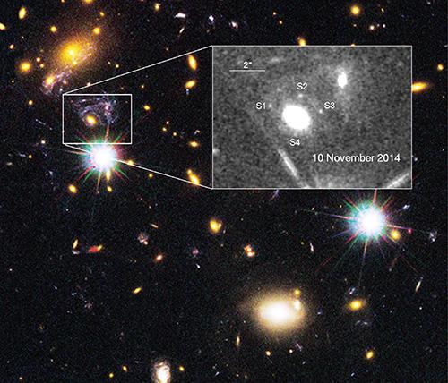 Bild: NASA/ESA/M. Postman STScI/CLASH team; P. Kelly m. fl 2014