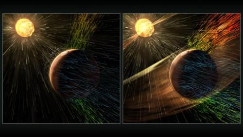 Effekterna av hur en kraftfull solstorm nöter bort delar av Mars övre atmosfär. Bild: NASA GSFC