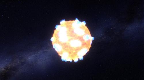 Shockutbrottet för en jättestjärna, som en konstnär har gestaltat det. Bild: NASA Ames, STScI/G. Bacon