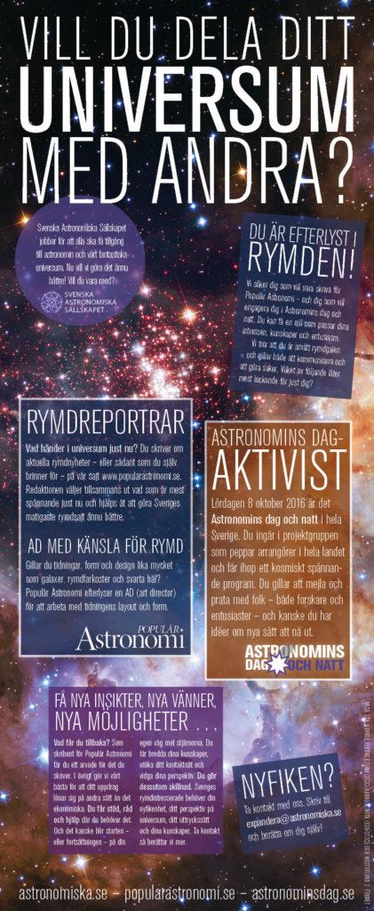 Rymdentusiaster efterlyses av Populär Astronomi och Astronomins dag och natt