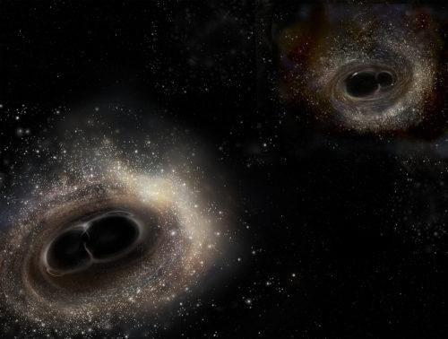Såhär föreställer sig rymdkonstnären Aurore Simonnet LIGO:s två svartahålskrockar - från september (t v) och december 2015 (t h). Bild: LIGO/A. Simonnet