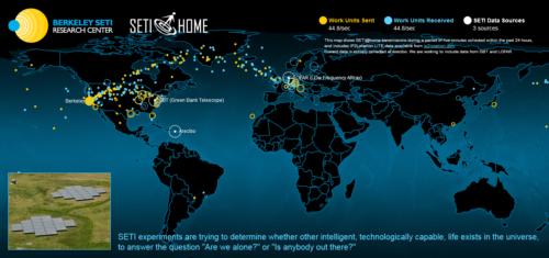 Klicka på bilden för att se en animation av ett urval ur den globala datatrafiken under fem minuter av det senaste dygnet inom SETI@Home.