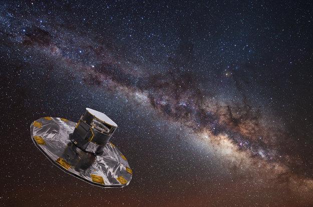 Gaia i färd med att kartlägga Vintergatan. Bild: ESA