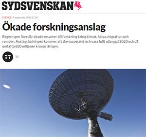 Ökade anslag till klimatforskningen via Rymdstyrelsen. På bilden Onsala rymdobservatorium vars finansiering inte ingår i förslaget. Foto: ©Björn Larsson Rosvall/TT