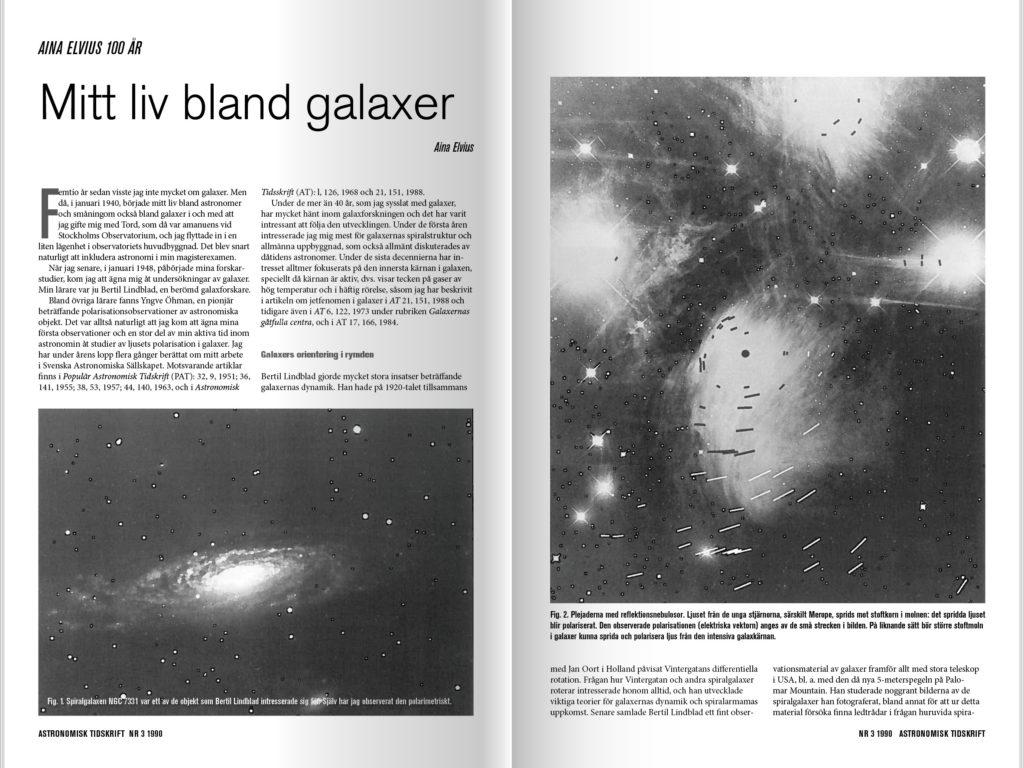 Artikel om galaxer i Astronomisk tidning av Aina Elvius