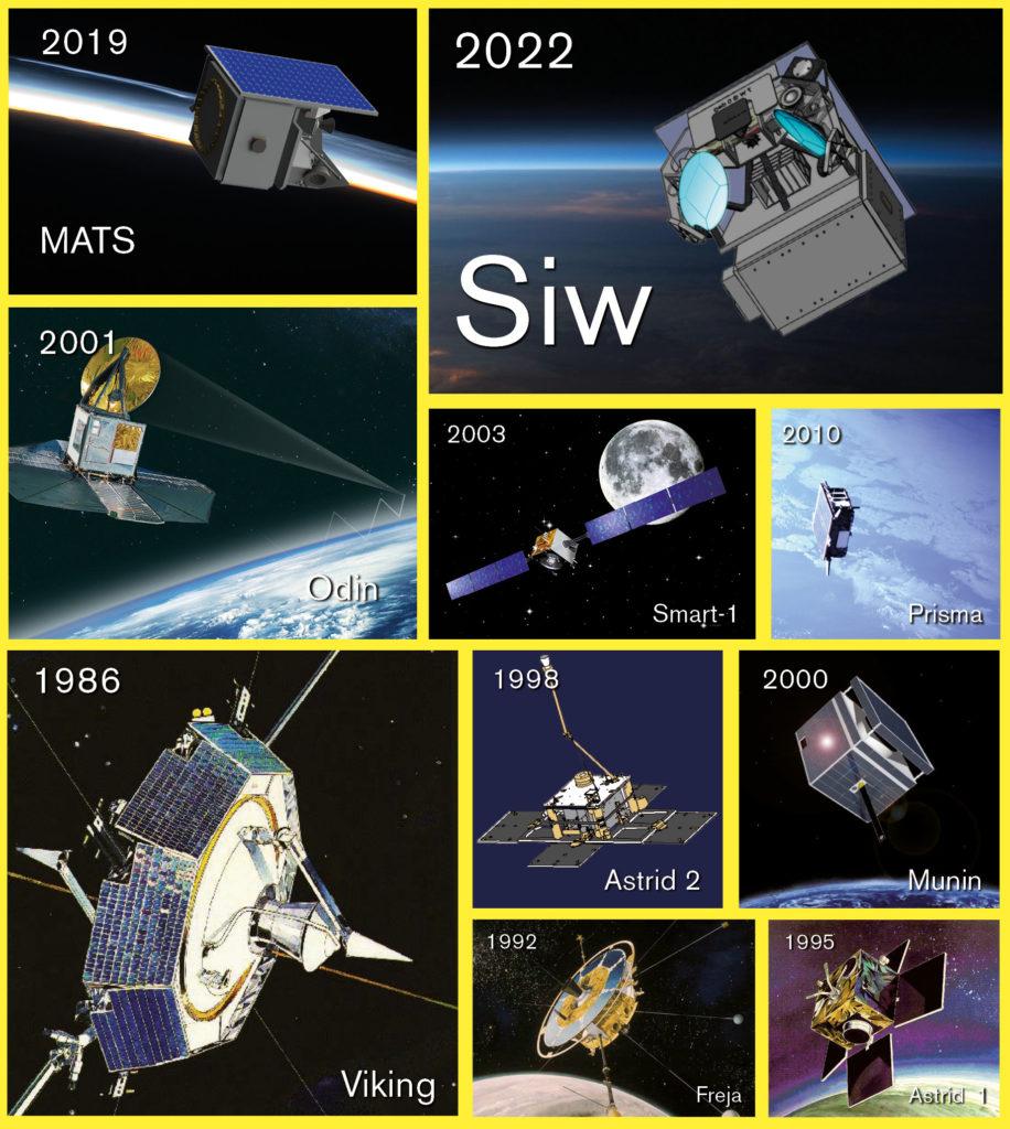 De svenska forskningssatelliterna. Grafik: Populär Astronomi. Bilder: Chalmers (Siw); KTH (Astrid 2), ESA (Smart-1); Rymdbolaget/SSC (övriga)