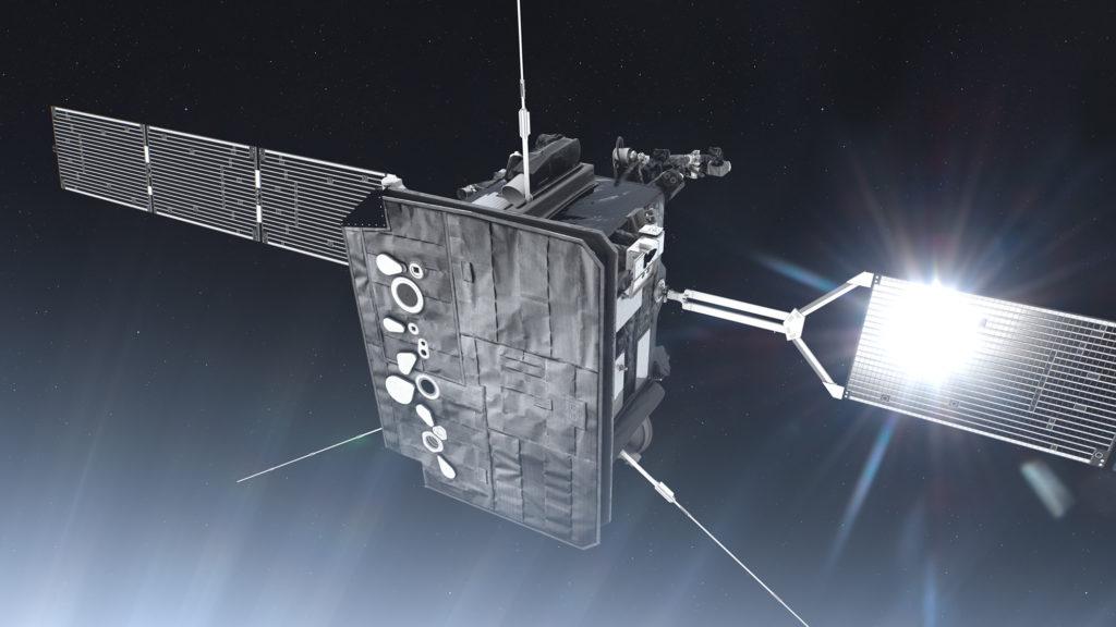 Konstnärs illustration av ESAs kommande solsond SolO. Illustration: ESA