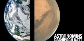 Temat för Astronomins dag och natt är Röd planet, blå planet. Bilder: Jorden: NASA Visible Earth (källa); Mars: ISRO / ISSDC / Emily Lakdawalla (CC BY-NC-SA 3.0; källa)