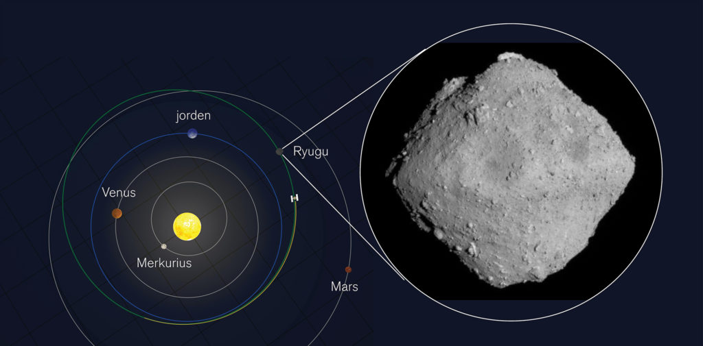 Ryugu i helfigur från 20 kilometers höjd. Bild: JAXA, University of Tokyo, Kochi University, Rikkyo University, Nagoya University, Chiba Institute of Technology, Meiji University, University of Aizu och AIST