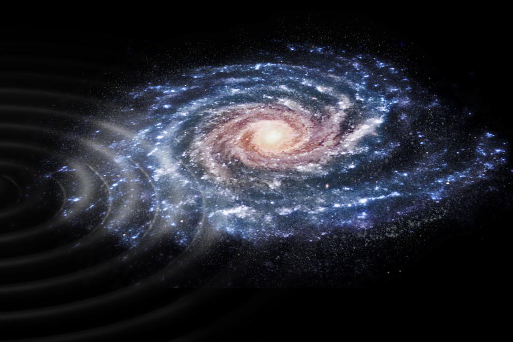 Konstnärs tolkning av svängningarna i Vintergatan. Bildkälla: ESA, CC BY-SA 3.0 IGO