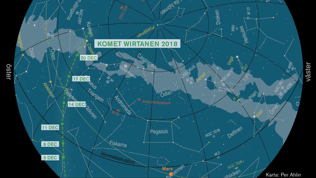Så rör sig komet Wirtanen över himlen under december 2018. Punkterna gäller för kl 23 på angivna datum. Grundkarta: Per Ahlin