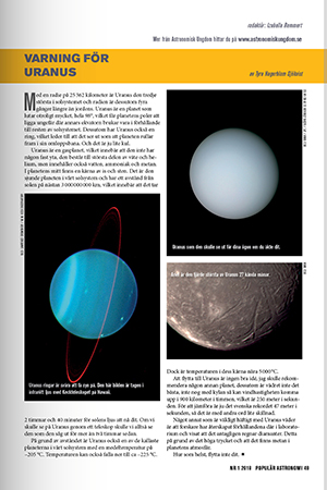 Flytta inte till Uranus! Tyra Hagerblom Sjökvist avråder i sin artikel i Populär Astronomi 2018/1.