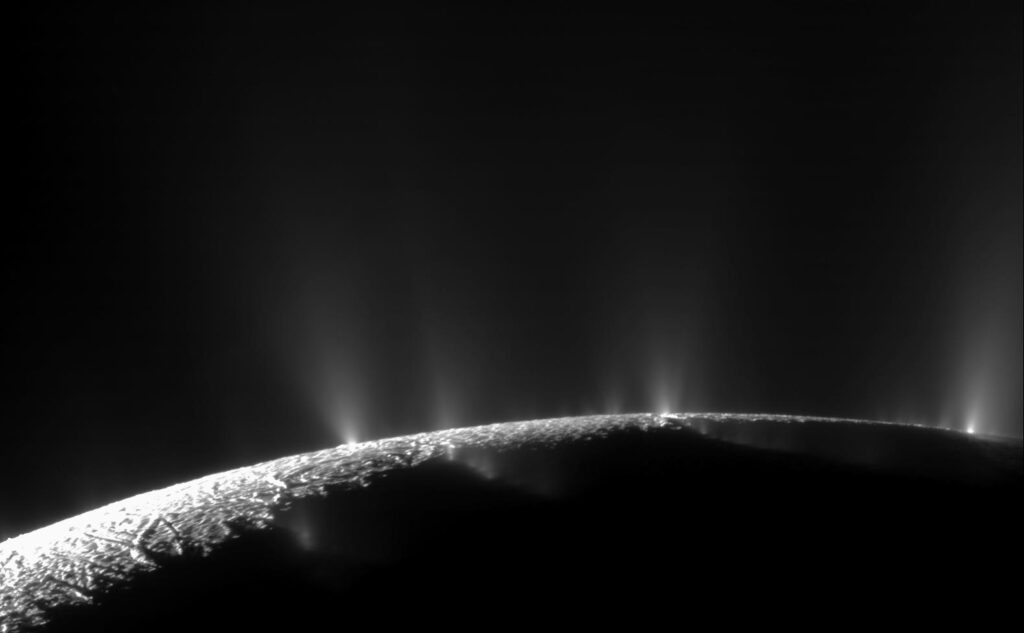 Enceladus geysrar Bild: NASA/JPL/Space Science Institute