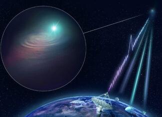 Konstnärlig bild av hur lokaliseringen av en radioblixt går till. I bilden syns teleskopen ASKAP (som registrerar radioblixten) samt spegelteleskopen VLT, Keck och Gemini. Bild: CSIRO/Dr Andrew Howells