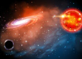Konstnärs tolkning av ett svart hål och en röd jättestjärna. Bild: Ohio State, Jason Shults