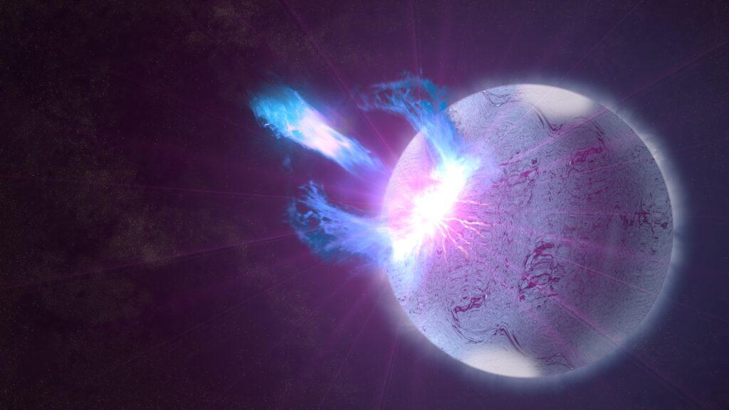 Magnetarutbrott, illustration NASA's Goddard Space Flight Center/S. Wiessinger