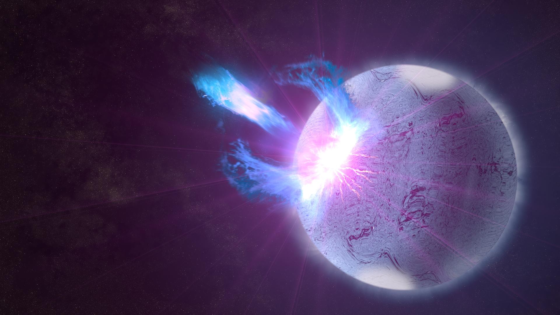 Magnetar utbrott, illustration https://www.nasa.gov/content/goddard/nasas-fermi-satellite-finds-hints-of-starquakes-in-magnetar-storm