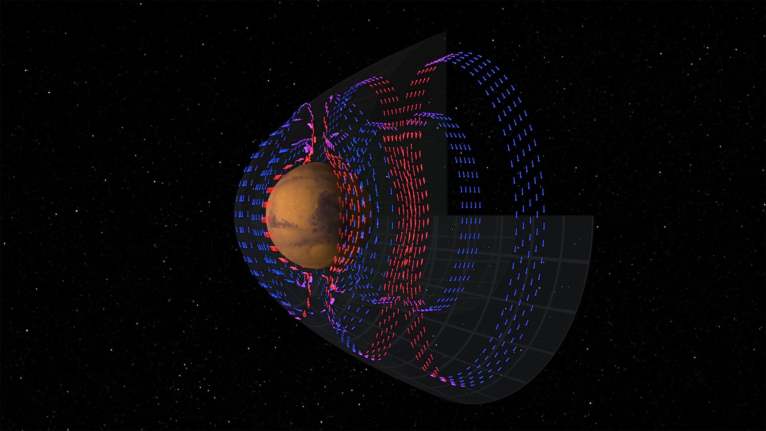 Elektriskt Mars: Bild: NASA/Goddard/MAVEN/CU Boulder/SVS/Cindy Starr