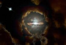 Wolfe-skivan enligt rymdkonstnären Sophia Dagnello. Bild: NRAO/AUI/NSF, S. Dagnello