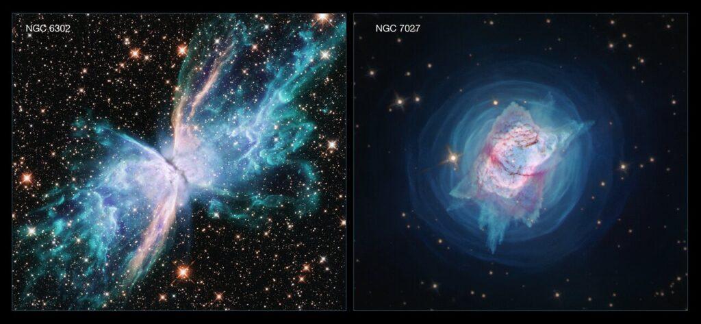 NGC 6302 och NGC 7027 (NASA, ESA, och J. Kastner (RIT))