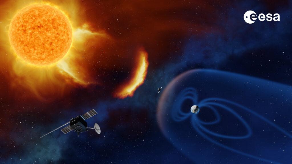 Illustation av satelliten, solstormar och jordens magnetfält. Källa: ESA/A. Baker