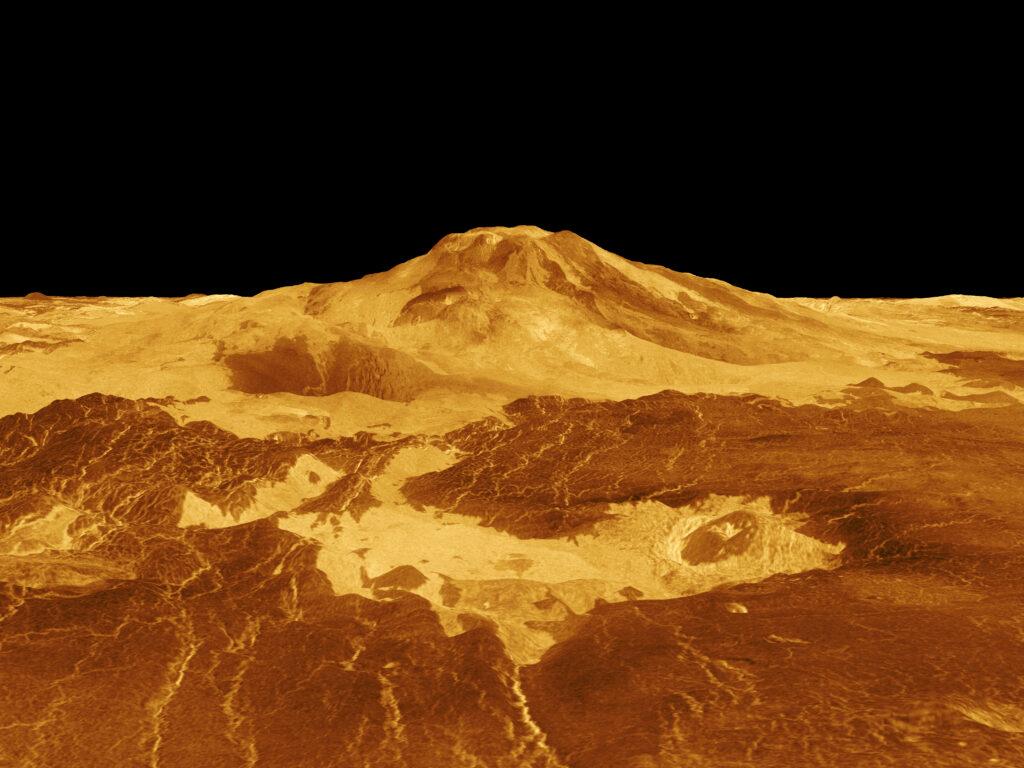 3D rekonstruktion av vulkanen Maat Mons på Venus, baserad på data från NASA:s sond Magellan från tidigt 1990-tal. Vulkanen tros vara aktiv, något som troligen kommer kunna bekräftas med hjälp av VERITAS.Bildkälla: NASA/JPL