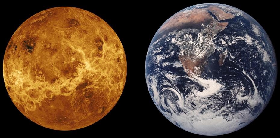 Venus kallas oftast för systerplanet till jorden, då planeterna förutom att vara grannar, även är väldigt lika till storlek. Bildkälla: NASA