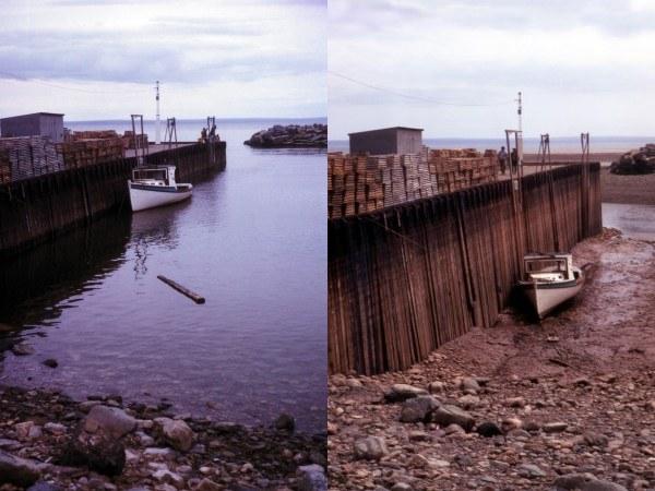 Samma hamn vid Fundybukten i Nova Scotia vid Kanadas atlantkust vid högvatten respektive lågvatten. Bildkälla: Samuel Wantman