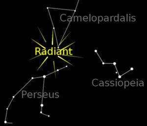 Perseidernas radiant. Bild: Wikimedia Commons (beskuren)